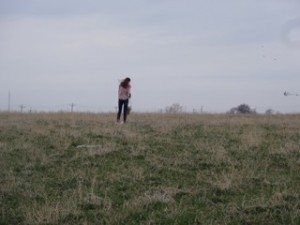 Activist Abby in field